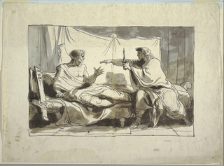 Horizontal rectangle showing interior scene with Cato sitting upright in his bed looking sternly at his son, who sits on bed with dagger and gestures.