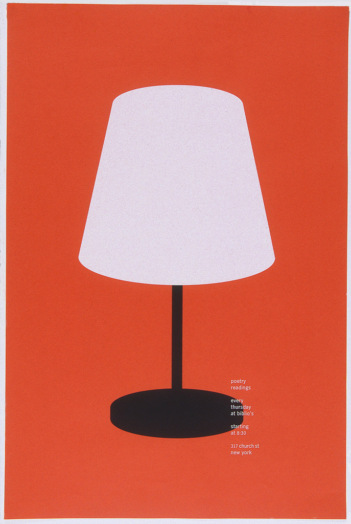 """Simple table lamp with white shade and black base on orange ground is placed in center of poster. Imprinted in white in lower right quarter of poster, the announcement: """"poetry readings/ every thursday at biblio's/ starting at 8:30/ 317 church st new york."""""""