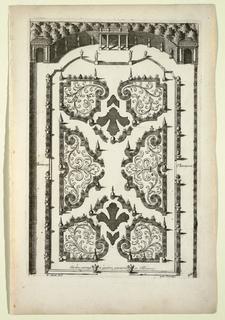 Print, Jardin partage en quatres parterres et Thérasses (Garden Beds and Four Terraces), in Nouveaux Livre de Parterres contenant 24 pensséz diferantes (New Book Containing 24 Different Variations for Garden Beds)