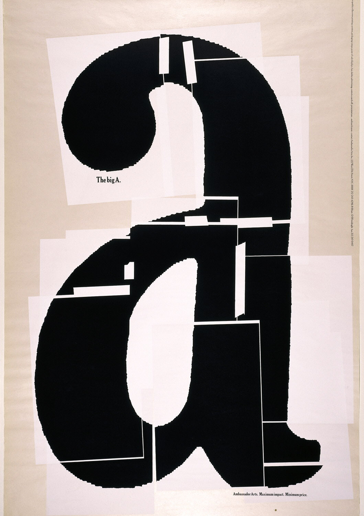 In black text, a lower case 'a' on irregular areas of white. The letter is presented as if collaged together from separate pieces of paper held together with tape. In black, under the loop of the 'a': The big A.