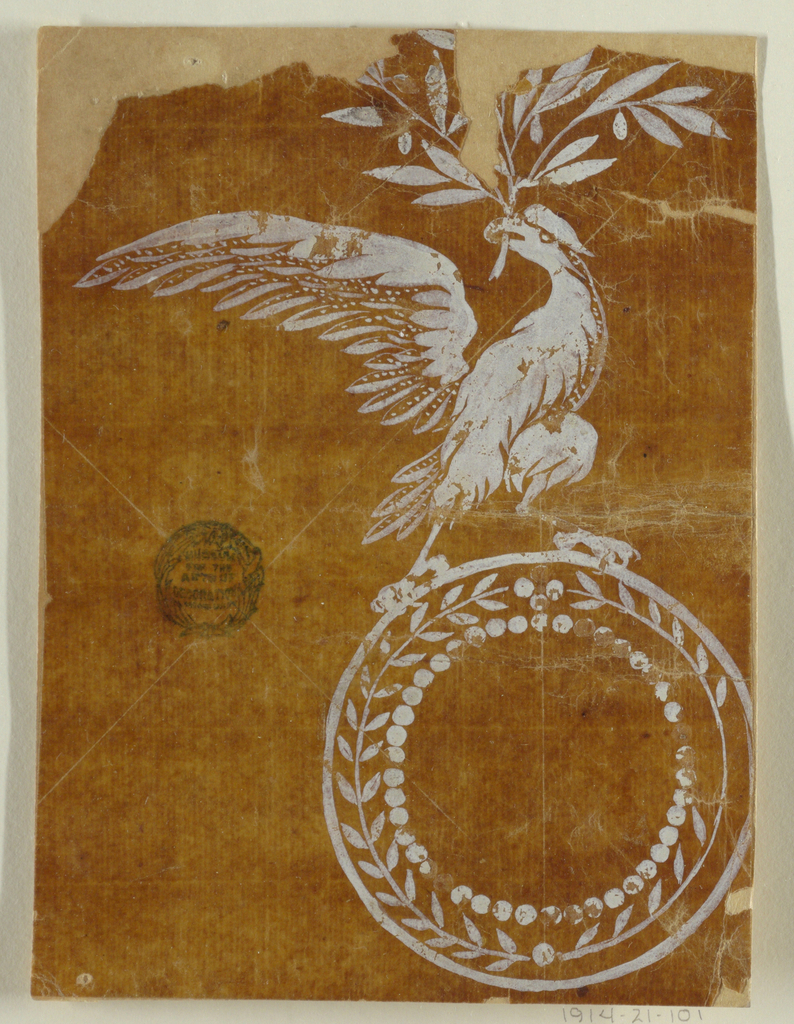 An eagle standing on top of a circular medallion holds a laurel bough in the beak.