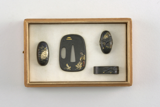 handle decoration w/ images of geese and tsuba w/ image of person