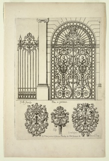 Designs for an ornate gate set within a stone building facade, with 2 designs of key holes flanking the design for a key top pictured center.