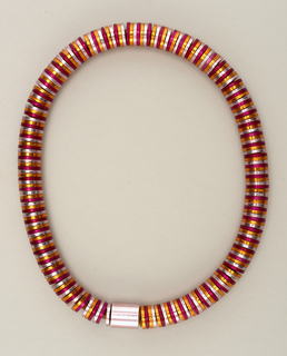 Necklace made from pink, violet and gold anodized aluminum washers.