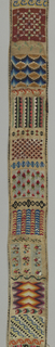 Bell pull made of canvas with embroidery, arranged as cross borders, in floral and geometric designs; brass handles at either end, pierced in design of Chinese type. Embroidery in canvas stitches. Backed with yellow cotton plain cloth.