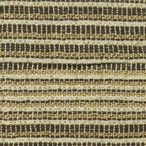 Drapery fabric with black and white stripes and gold Lurex.