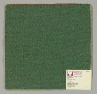 Weft-faced plain weave in dark green with a plain weave foundation. Weft-facing yarns are coarse and loosely twisted. Foundation weave consists of brown warp threads and dark brown weft threads.