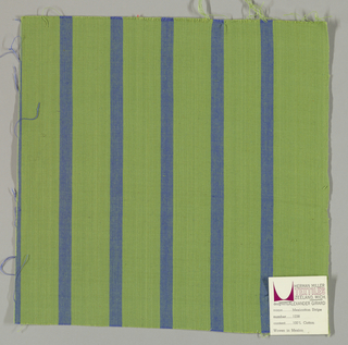 Plain weave with a green ground and narrow vertical blue stripes.