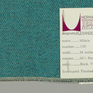Weft-faced plain weave in light green, turquoise and black. The light green and turquoise weft threads give the predominant color. There are black warp threads which appear on the surface. A black binding warp is visible on the reverse.
