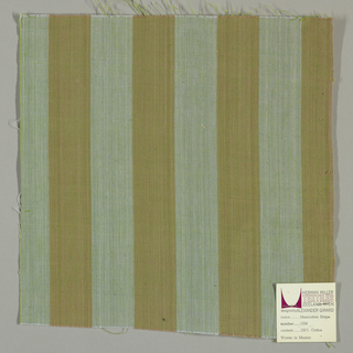 Plain weave in wide vertical stripes of blue-gray and light brown.