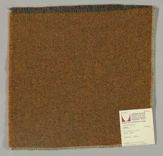 Tweed-effect plain weave with brown warps and orange wefts.