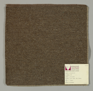 Weft-faced plain weave in dark brown with a plain weave foundation. Weft-facing yarns are coarse and loosely twisted. Foundation weave consists of brown warp threads and dark brown weft threads.