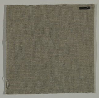 Plain weave with gray warp and beige weft. Heavy nylon yarns give a coarse surface texture.