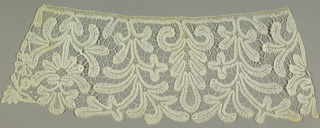Patterns shows pendant flower with spray on either side, alternating with leaf motif. Tape has ornamental stitches, and parts are connected with brides picotees. (parts are connected with bars that have picots)