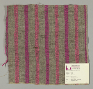 Plain weave of variegated grey and narrow pink and magenta vertical stripes. The grey striped areas are comprised off-white warps while the wefts are comprised of white threads loosely twisted with black goat hair. The pink and magenta stripes are made of heavier warp threads with a slight sheen.