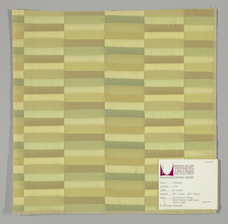 Vertical bands comprised of narrow horizontal rectangles in light green, light brown and pale gold. Weft threads are teal, light brown and gold while the warp threads are yellow. Changes in the weave structure make subtle color differences apparent on the surface.