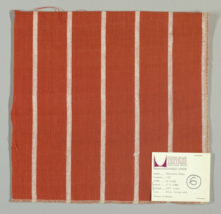 Plain weave with a dark orange ground and narrow vertical white stripes.
