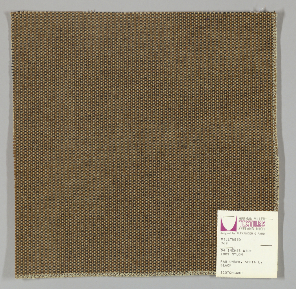 Tweed-effect plain weave in off-white, tan and black. Warp is comprised of off-white yarns while the weft yarns alternate between tan and black. Number 369.