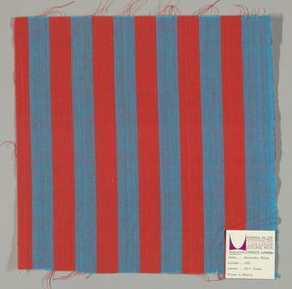 Plain weave in vertical stripes of bright red and turquoise.