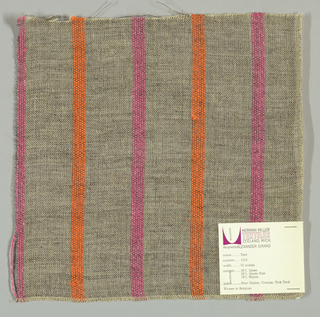 Plain weave of variegated grey and narrow orange and pink vertical stripes. The grey striped areas are comprised off-white warps while the wefts are comprised of white threads loosely twisted with black goat hair. The orange and pink stripes are made of heavier warp threads with a slight sheen.