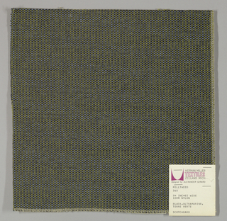 Tweed-effect plain weave in black, olive green and light blue. Warp is comprised of black yarns while the weft yarns alternate between light blue and olive green. Number 365.