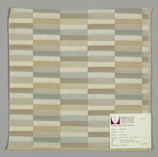 Vertical bands comprised of narrow horizontal rectangles in pale green, pale pink and pale gold. Weft threads are teal, light brown and gold while the warp threads are light yellow. Changes in the weave structure make subtle color differences apparent on the surface.