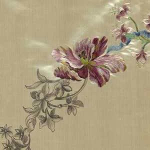 A free hand drawing of floral swags on cream color satin with part of the embroidery completed.
