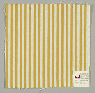 Plain weave in narrow vertical stripes of white and gold.