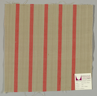 Plain weave with a light brown ground and narrow vertical crimson stripes.