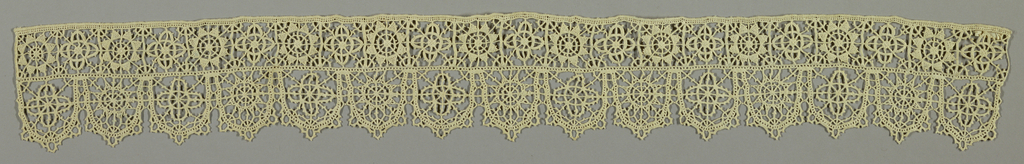 Needle lace reticello edged in continuous braid like bobbin lace. Fine modern copy of an older type (?).