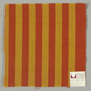 Plain weave in vertical stripes of dark orange and gold.