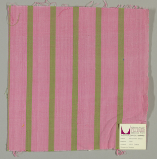 Plain weave with a pink ground and narrow vertical green stripes.