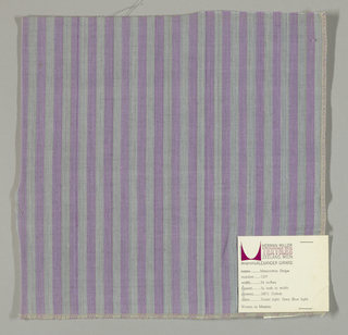 Plain weave in vertical stripes of light purple and gray-blue.