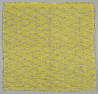 A plain weave ground of chartreuse rayon, rayon overtwist novelty, and wool yarns, with supplementary weft patterning in natural linen, its float weave creating a large-scale chevron twill on the surface.