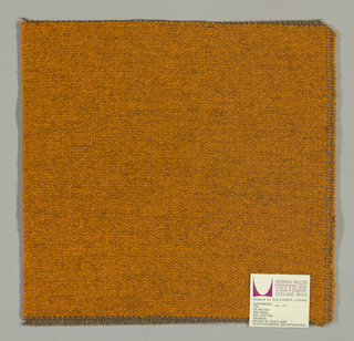 Weft-faced plain weave in orange with a plain weave foundation. Weft-facing yarns are coarse and loosely twisted. Foundation weave consists of brown warp threads and dark brown weft threads.