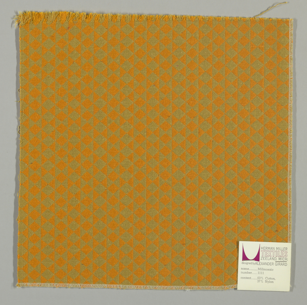 Double cloth in an orange and dark yellow striped pattern of diamonds and triangles. Orange and dark yellow warps and orange and dark yellow wefts intersect to make solid areas of color in the pattern.