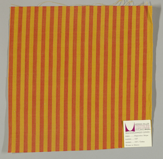 Plain weave in vertical stripes of bright orange and gold.