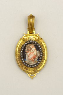 Locekt in two parts joined by a loop at the top.  On the face is an oval painting of Hebe with an eagle, encircled by rose diamonds and set in a gold frame.  On the back is a deisgn in gold filigree and inside is a removable section of gold with a glass cover.