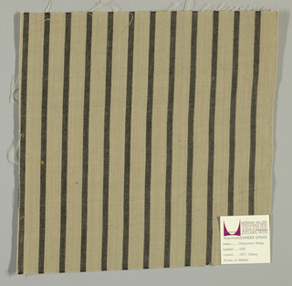 Plain weave with a beige ground and narrow vertical black stripes.