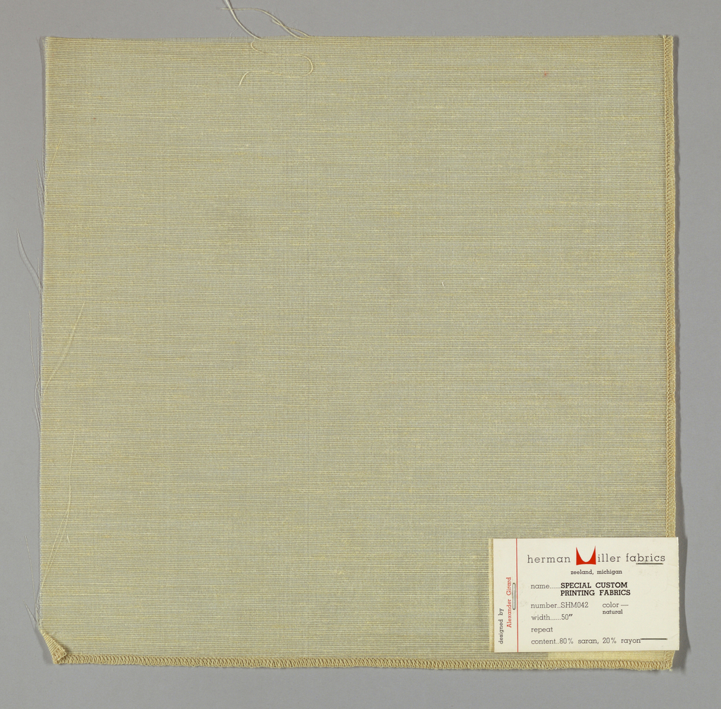 Plain weave in light yellow. Warp is comprised of very thin transparent threads. Weft is comprised of slightly heavier threads in light yellow.