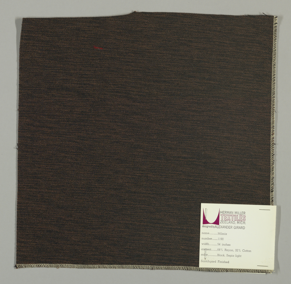 Weft-faced plain weave in dark brown and black. The dark brown and black weft threads give the predominant color. There are black warp threads which appear on the surface. A black binding warp is visible on the reverse.
