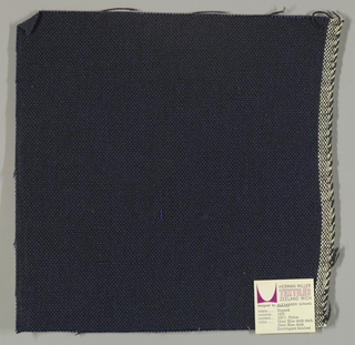 Plain weave with dark blue warp and black weft. Heavy nylon yarns give a coarse surface texture.