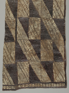 Rectangle of two thicknesses, printed in dark brown in design of striated diagonals within tall rectangles. Dark triangles of solid shiny pigment may be painted. Lozenge pattern border at one end.