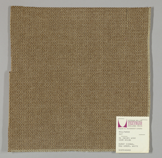 Tweed-effect plain weave in tan, off-white and beige. Warp is comprised of tan yarns while the weft yarns alternate between off-white and beige. Number 367.