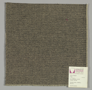 Tweed-effect plain weave in black, off-white and beige. Warp is comprised of black yarns while the weft yarns alternate between off-white and beige. Number 1115.