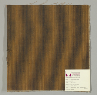 Plain weave in narrow vertical stripes of black and tan.