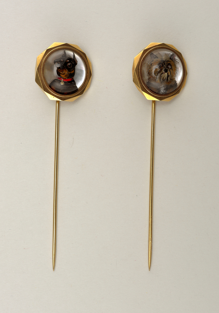 Scarf pin with dog portrait Tie Pin, ca. 1865