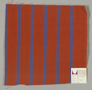 Plain weave with a dark orange ground and narrow vertical blue stripes.
