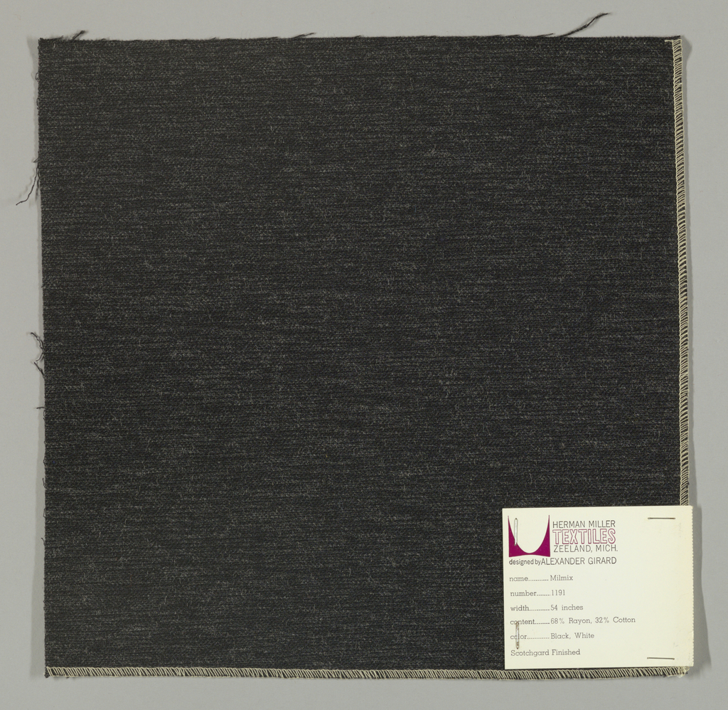 Weft-faced plain weave in gray and black. The dark gray and black weft threads give the predominant color. There are black warp threads which appear on the surface. A black binding warp is visible on the reverse.
