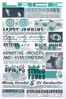 Newsletter featuring an array of texts in different fonts and sizes; with details and illustrations in turquoise; some photographs.